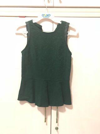 Zara peplum top dark green