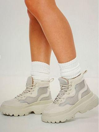 Missguided reflective trim sneaker boots