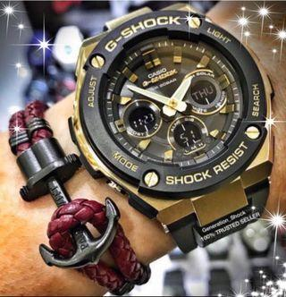 GSTEEL🌟GSHOCK DIVER WATCH : 1-YEAR OFFICIAL WARRANTY : 100% ORIGINAL AUTHENTIC G-SHOCK G-STEEL  in  Absolutely Toughness Best Gift For Most Rough Users & Unisex: GST-S300G-1A9  + GST-S100G-1A / CASIO / GSTEEL / G-STEEL / GSHOCK / WATCH