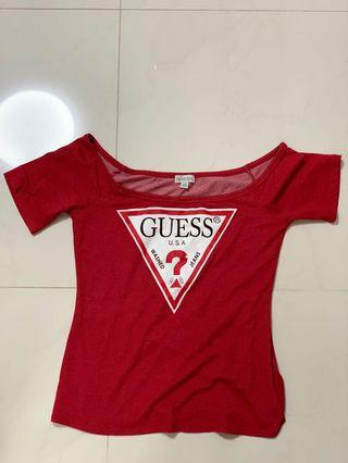 GUESS Red Off Shoulder Top