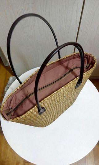 天然草織手挽袋Straw bag