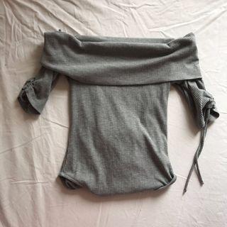 Top Shop Off Shoulder Top short sleeves Top shop 灰色露膊短袖衫 上衣 露肩 一字肩 可攝褲 攝裙 修身 size 34