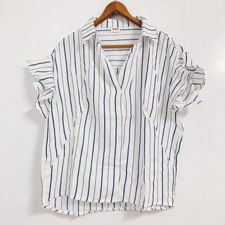 🚚 全新✨雪紡條紋短袖造型襯衫
