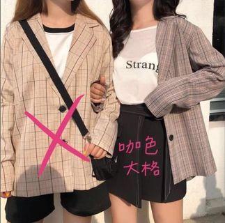 🚚 韓版格紋西裝外套