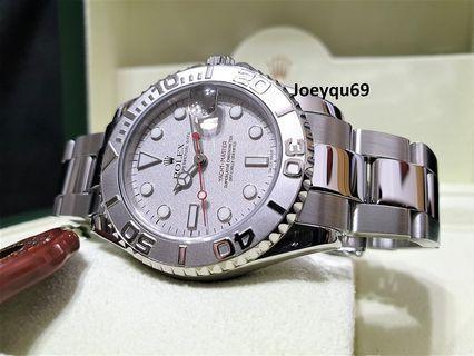 Boy/Mid 34mm ROLEX YACHTMASTER Platinum Bezel & Dial. Etched Crystal SEL Bracelet.