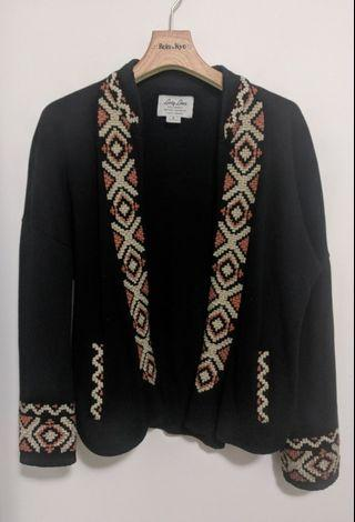 Lucky Brand embroidered sweater blazer