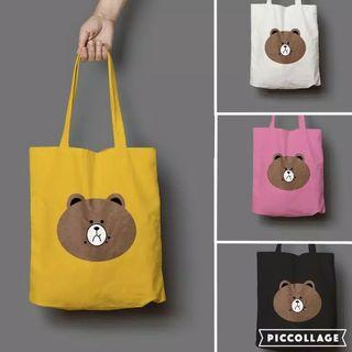 line brown tote bag