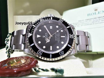 (RSC Paper/Box)! ROLEX Sea Dweller Date 16600 SEL bracelet. Collectible No Pinhole!