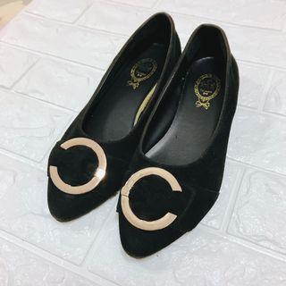 黑色絨布平底娃娃鞋🥿(二手)