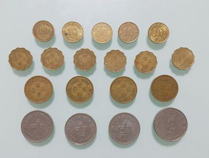19個香港英女皇硬幣全部不同全部共售HKD25.00