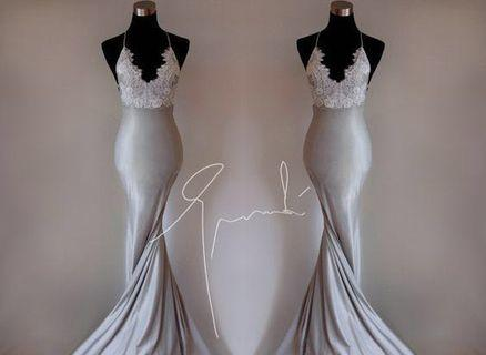 Silver Satin Prom Dress with White Lace Corset