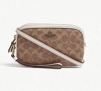 AUTHENTIC COACH SADIE CROSSBODY CLUTCH IN COLORBLOCK SIGNATURE CANVAS