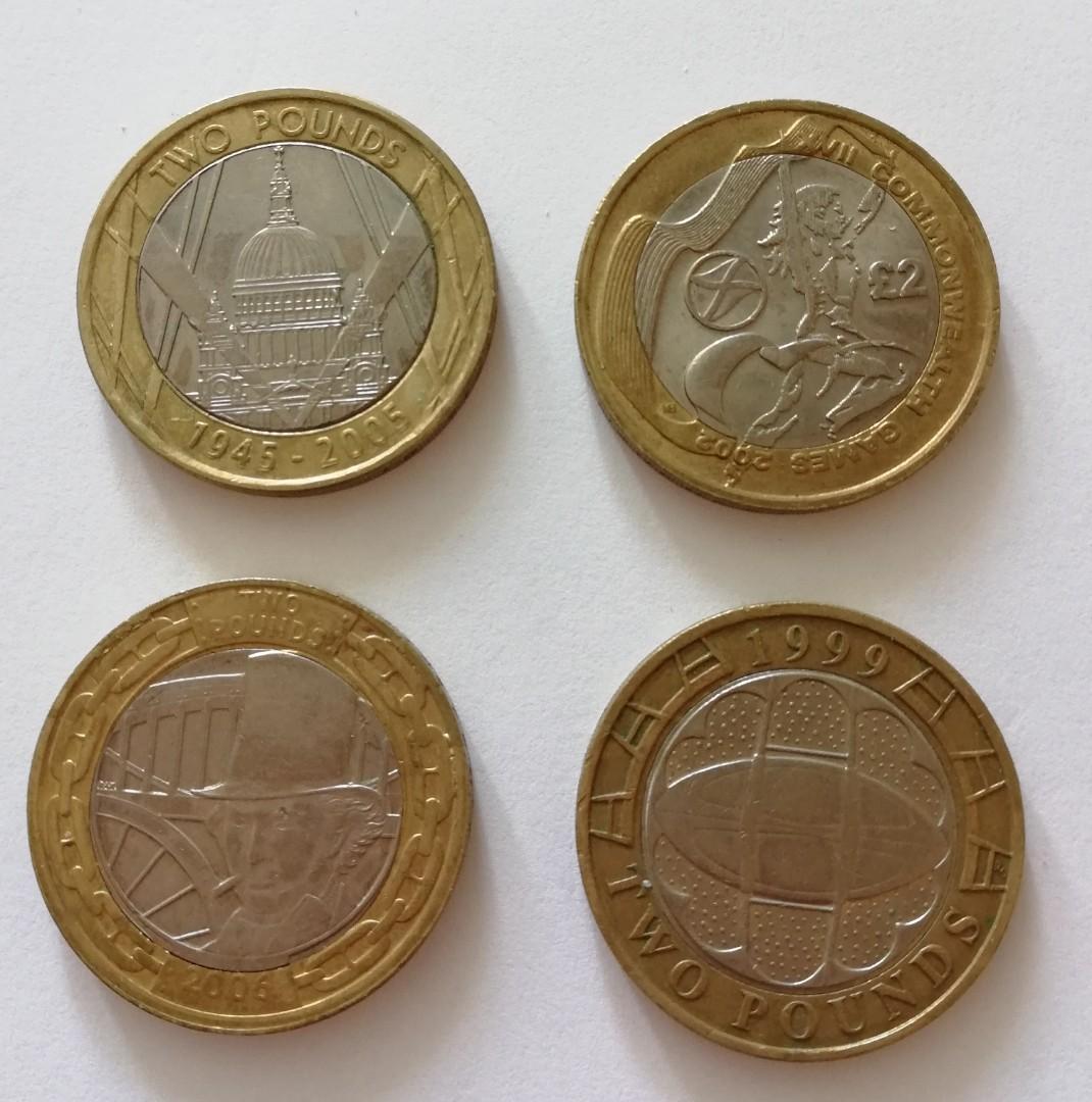 英國二鎊紀念幣4個