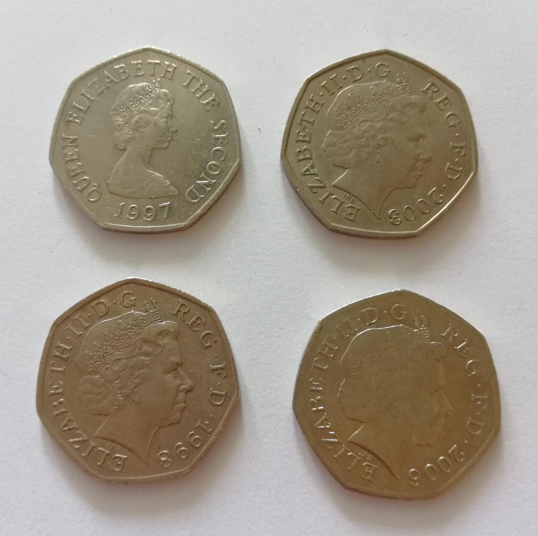 英國各年份50p紀念幣12個