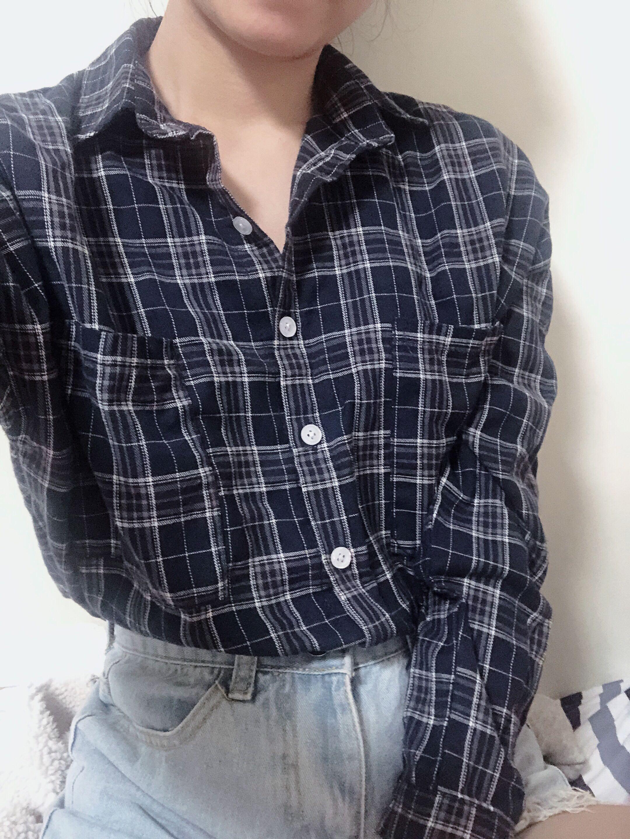 深藍襯衫外套