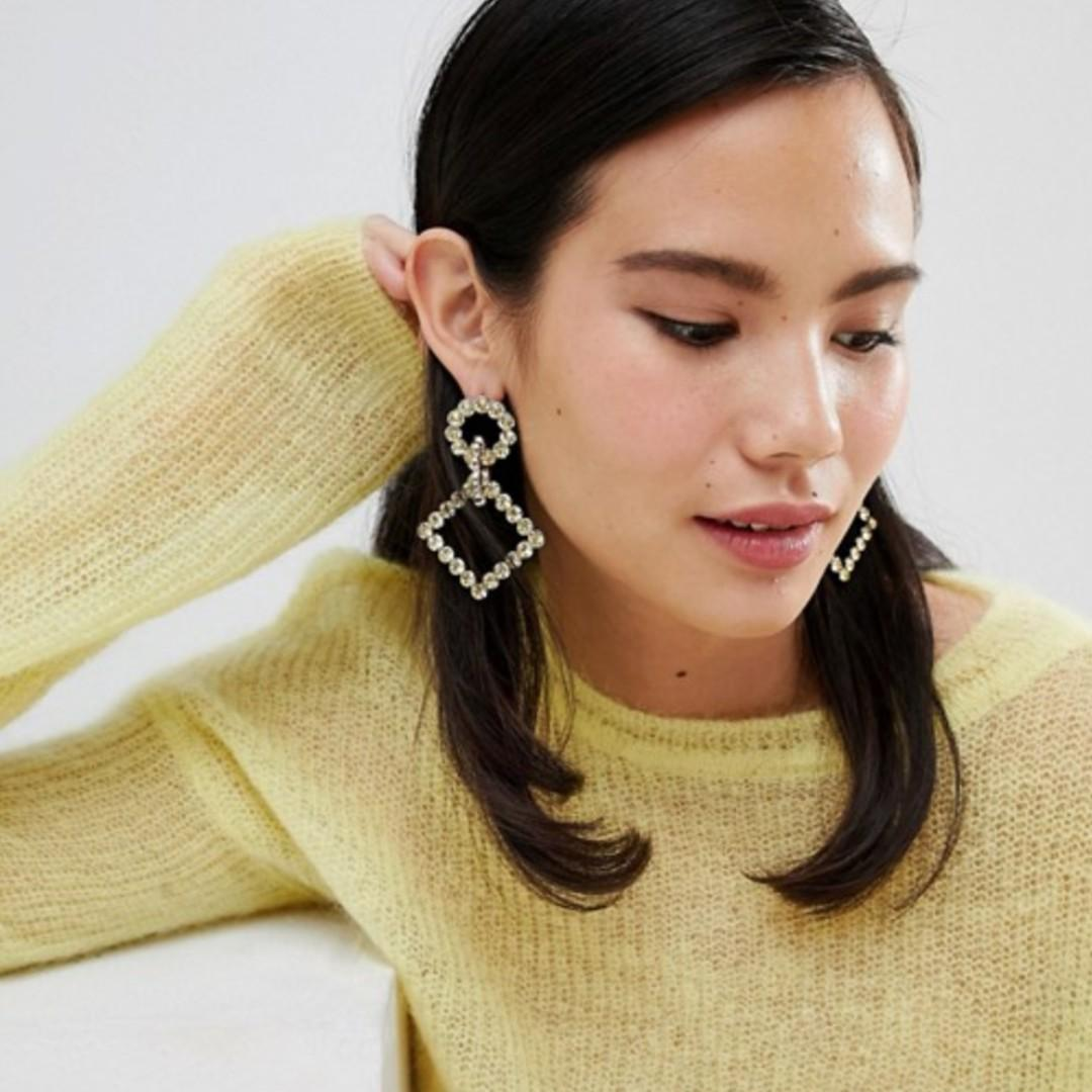ASOS DESIGN earrings with linked crystal shapes in silver