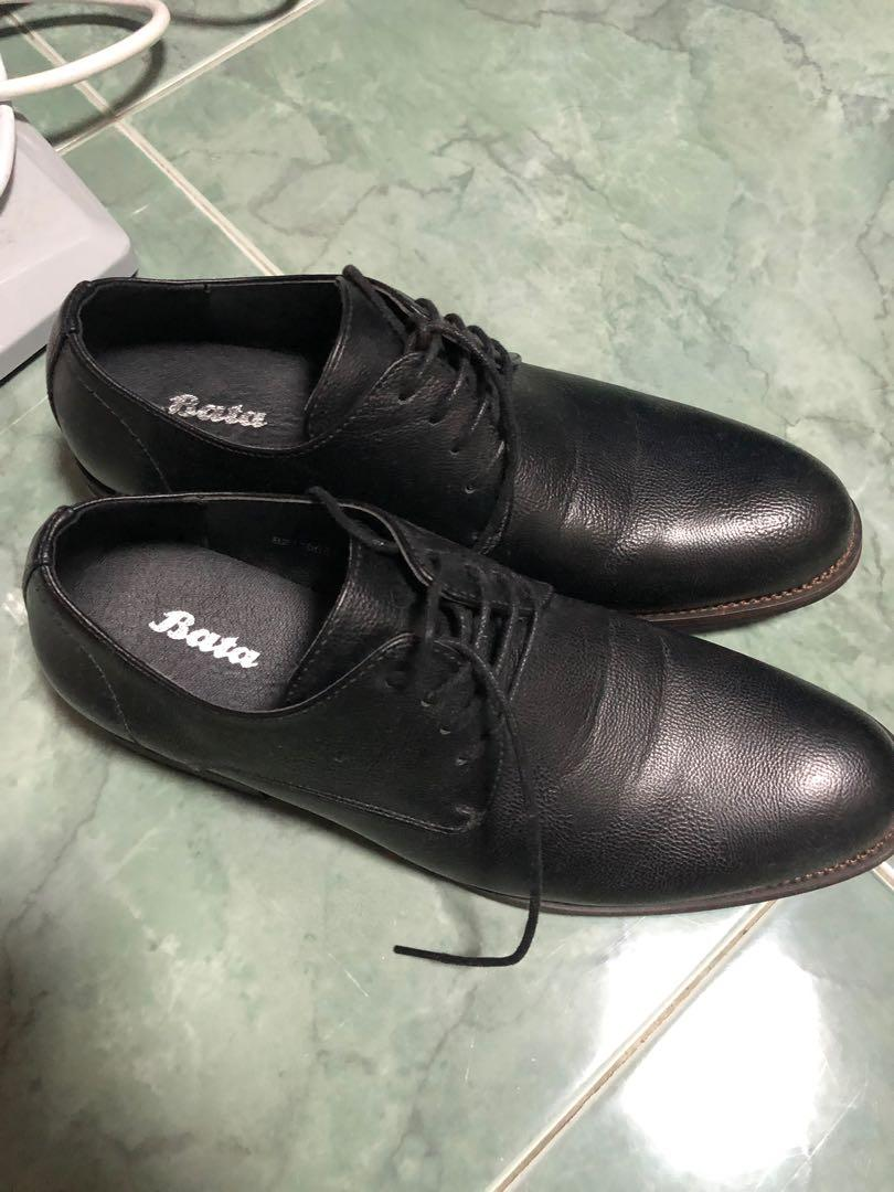 Black Leather Shoes - Bata on Carousell