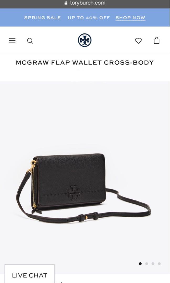 Brand New Tory Burch McGraw Flat Wallet Cross-Body