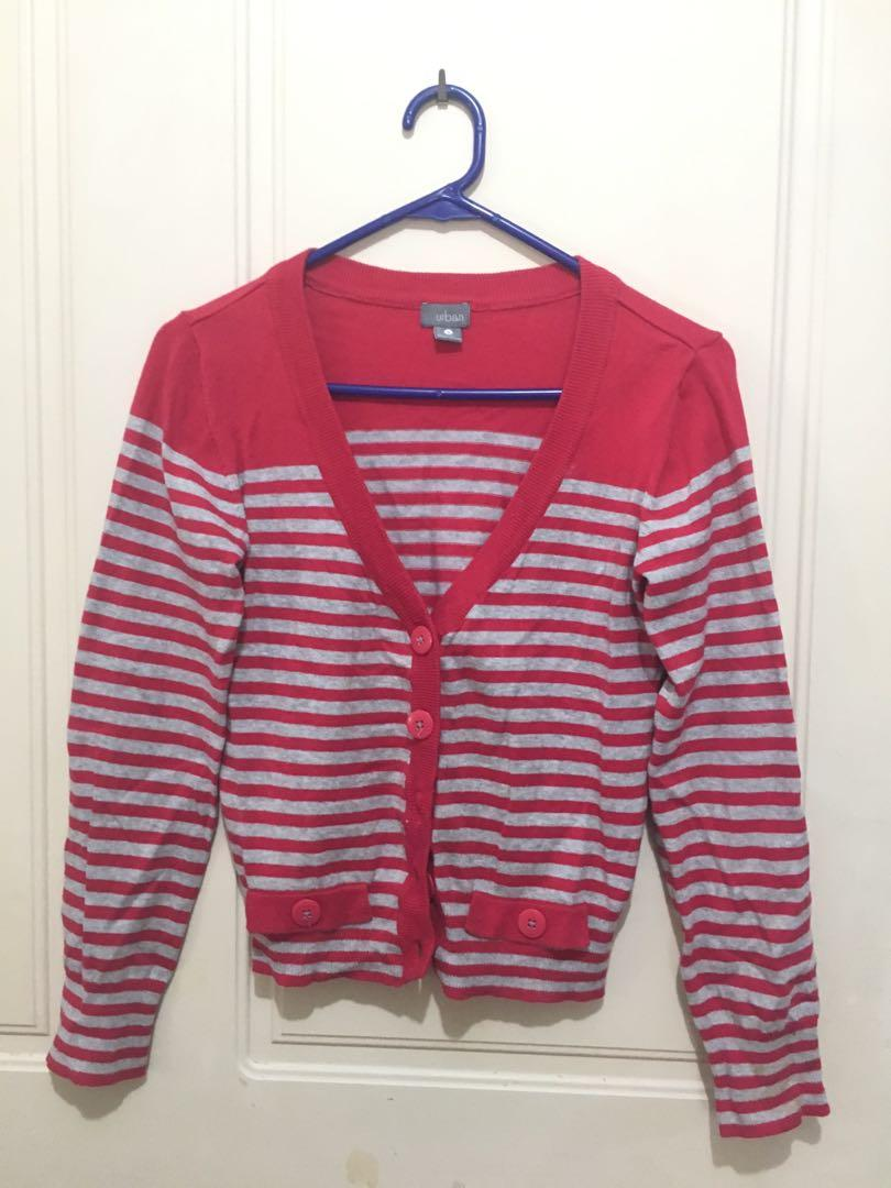Cardigan stripe red grey top long sleeve