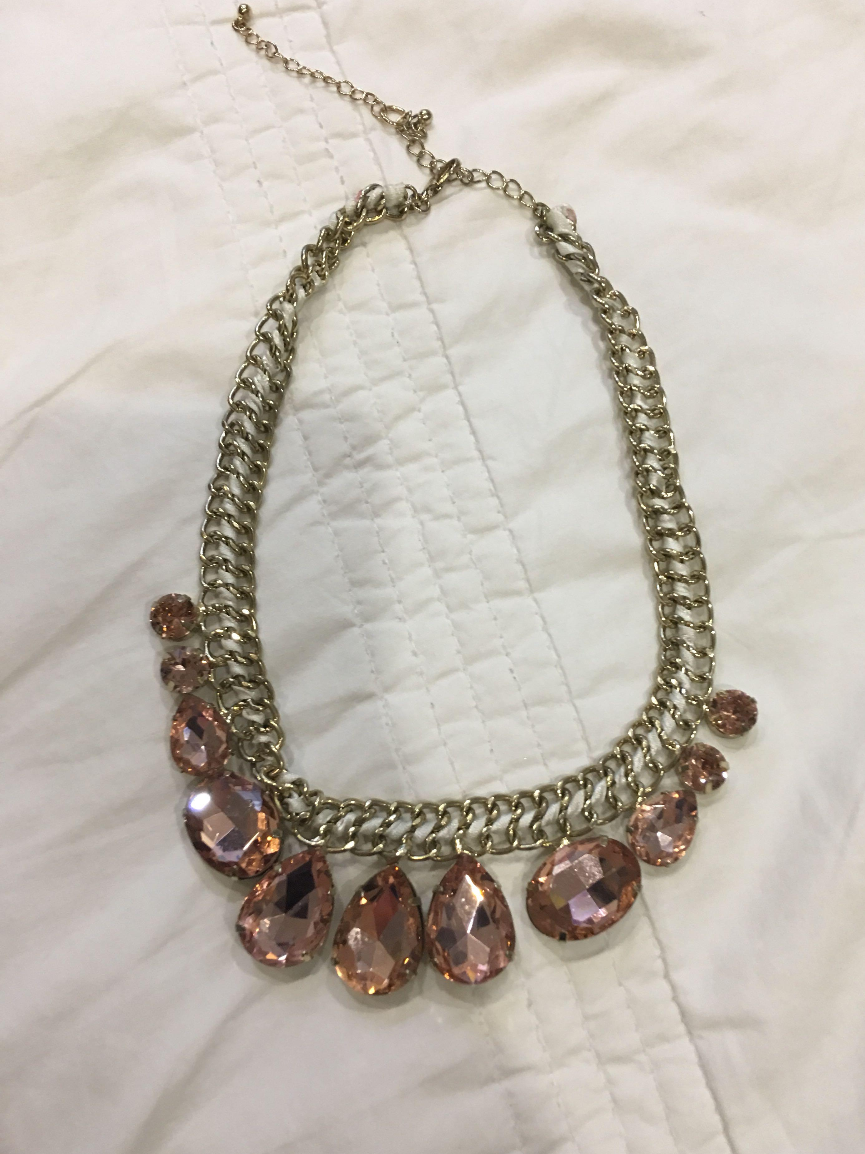 Chunky Gold With Pink Crystal Beads Necklace