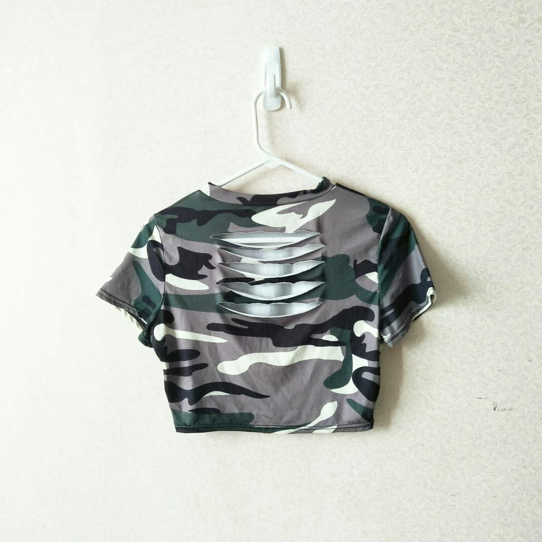 Crop top army #mauvivo