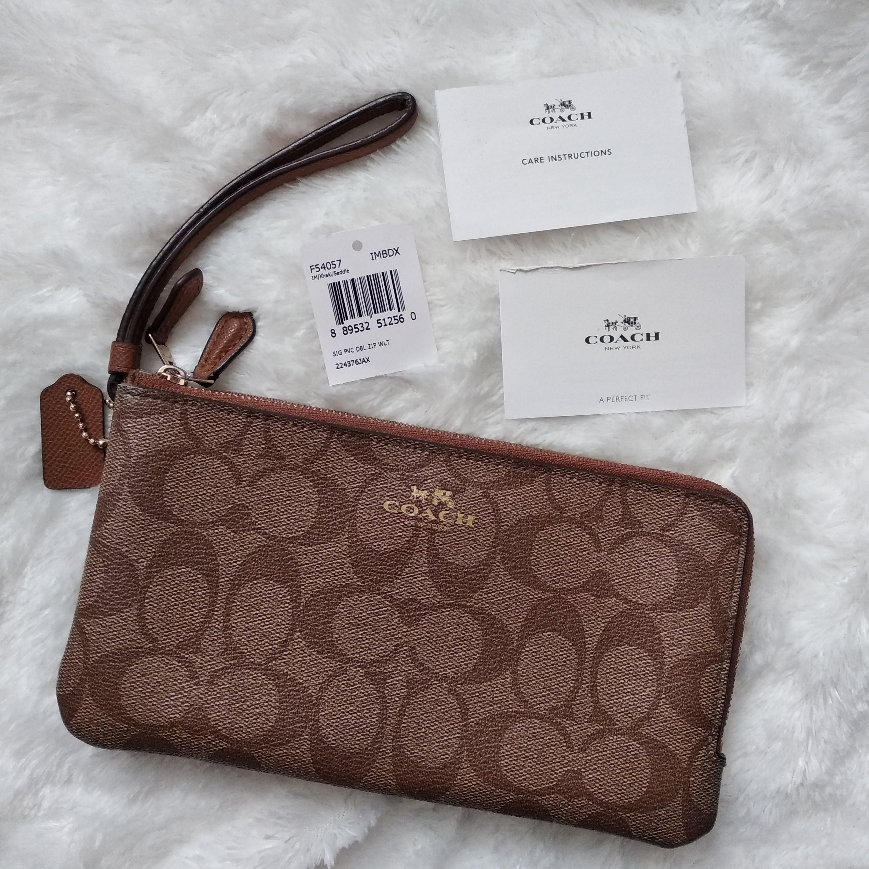 Dompet Coach Wrislet / Wrist Wallet Two Zipper - Signature Brown