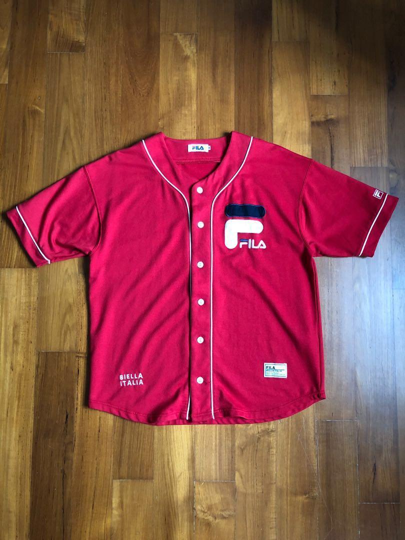brand new e92e1 13203 FILA Cotton Baseball Jersey in Red (Size M), Men's Fashion ...