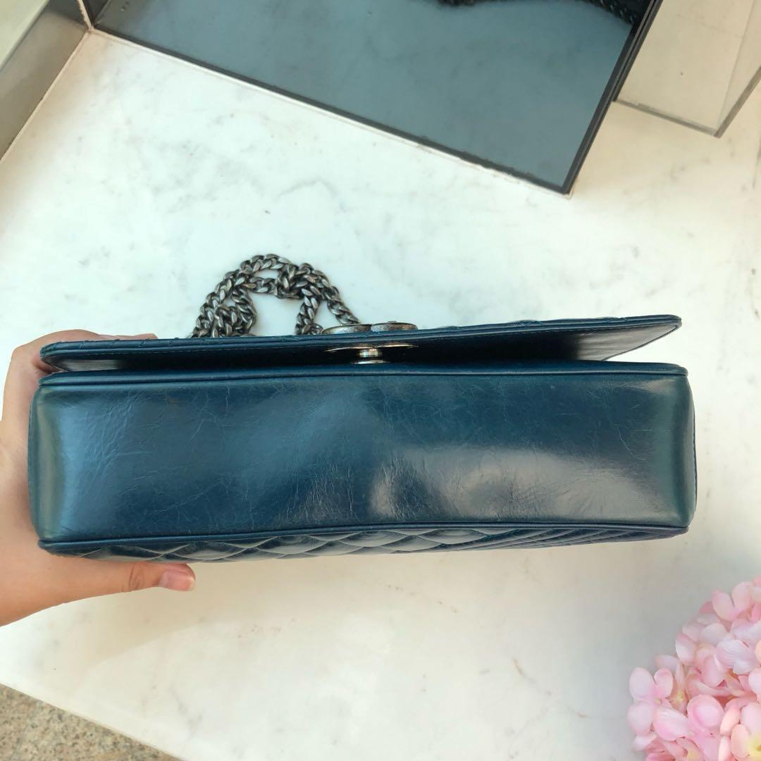 ✖️SOLD!✖️ Good Deal! Chanel Medium Coco Boy Seasonal Flap in Blue Glazed Distressed Leather RHW