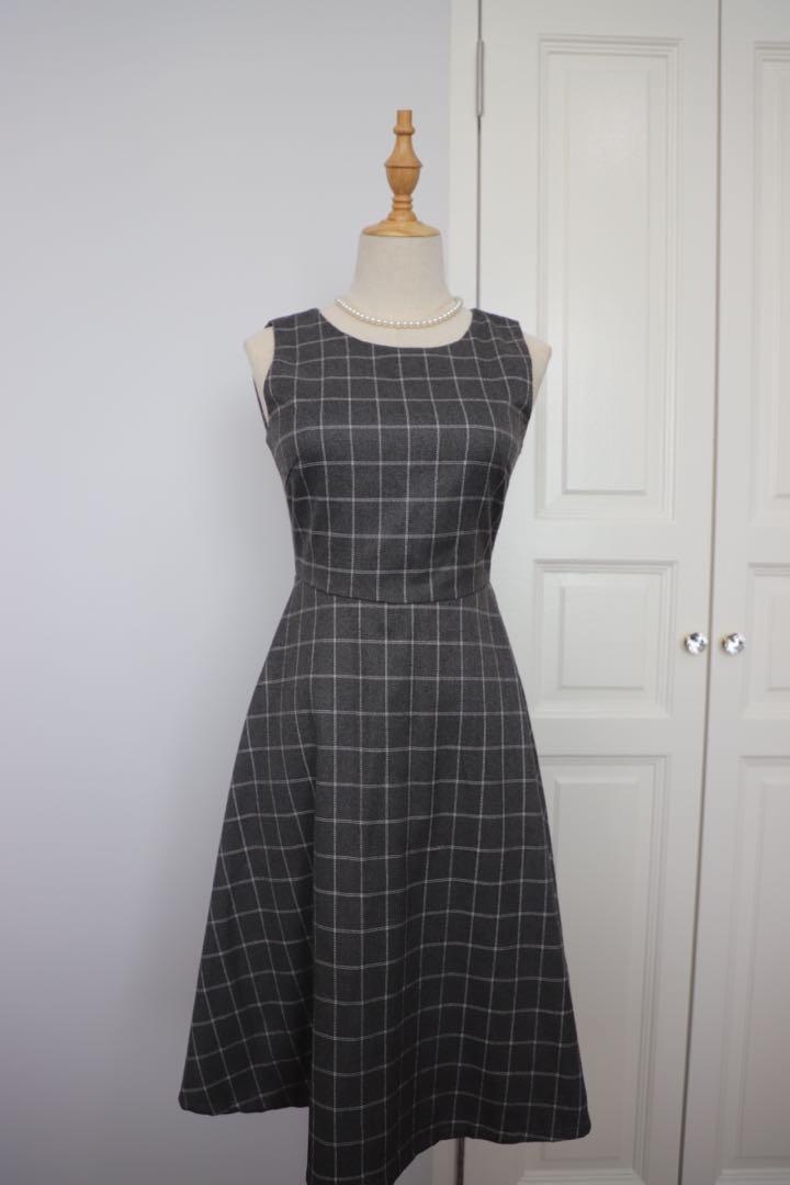 Grey Checkered Vintage Dress