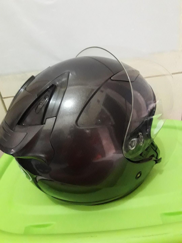 Helm KYT GALAXY DOUBLE VISOR HALF FACE GEEY SOLID