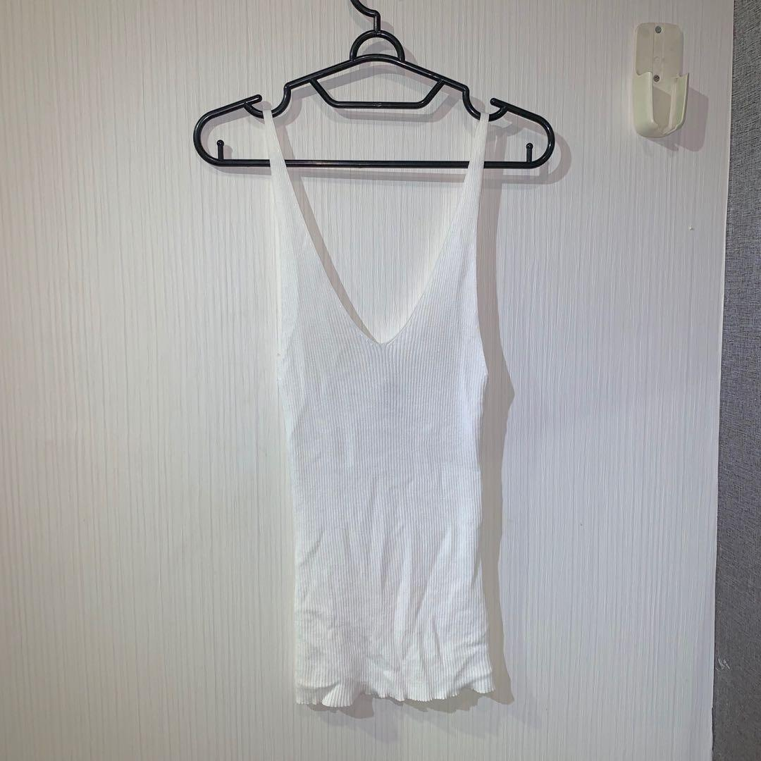 h&m white long tank top