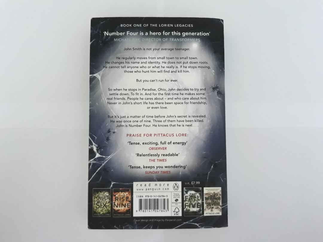"""""""I am Number Four"""" by Pitacus Lore (English novel) - Book 1 in the Lorien Legacies series"""