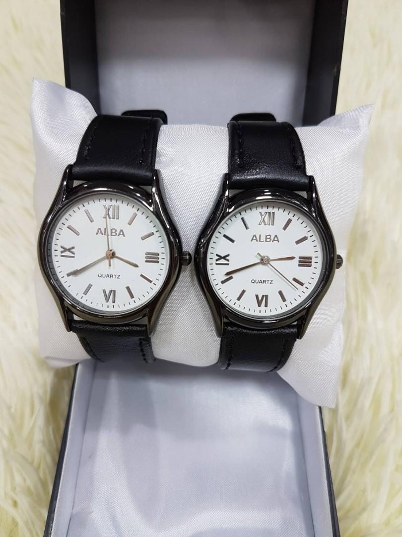 Jam Tangan Couple ALBA VINTAGE CP BLACK  Kulit pasangan + casing stainless diameter 4cm