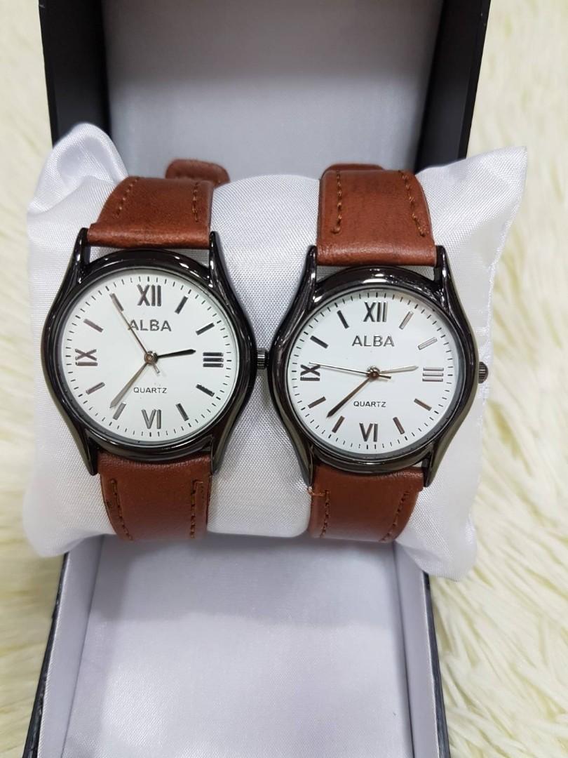 Jam Tangan Couple ALBA VINTAGE CP CHOCO  Kulit pasangan + casing stainless diameter 4cm