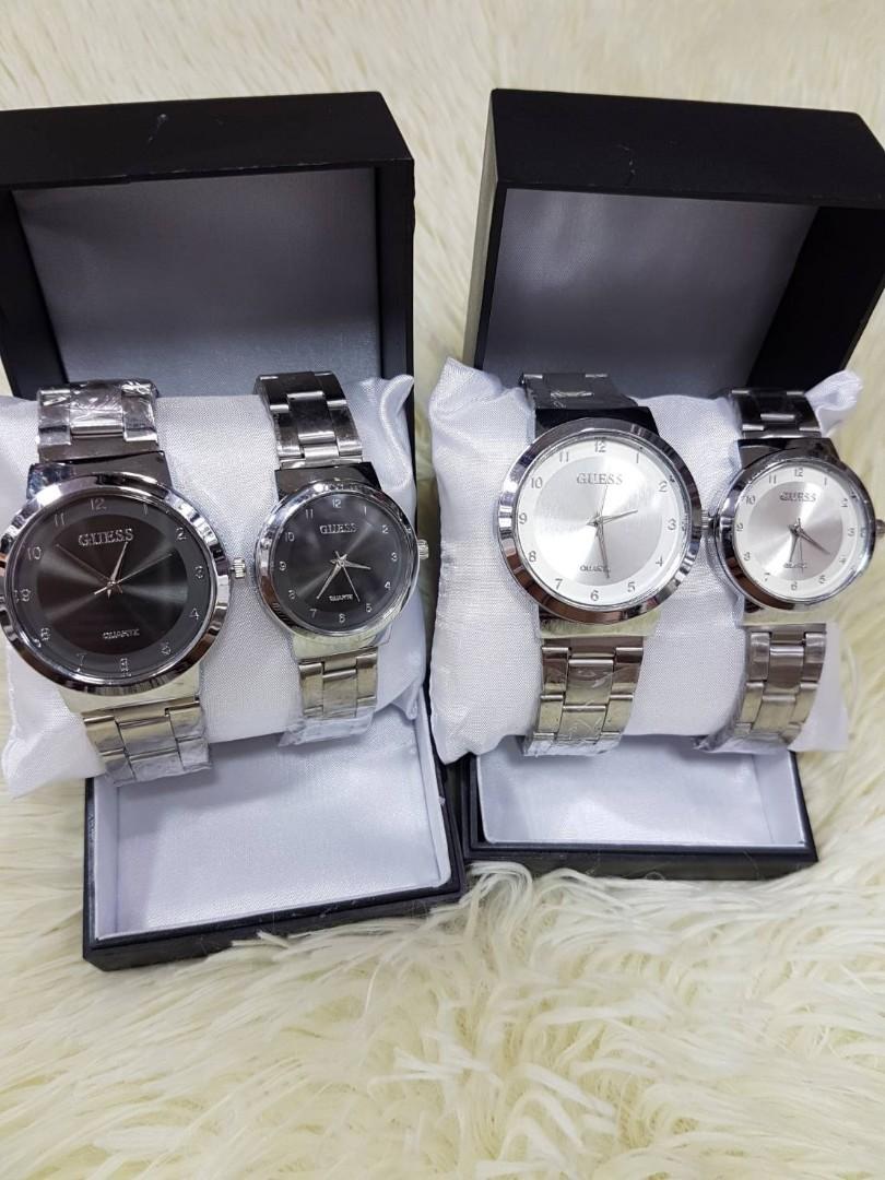 Jam Tangan Couple GUESS PORIS CP  Rantai putih couple diameter cowo 4cm cewe 3cm