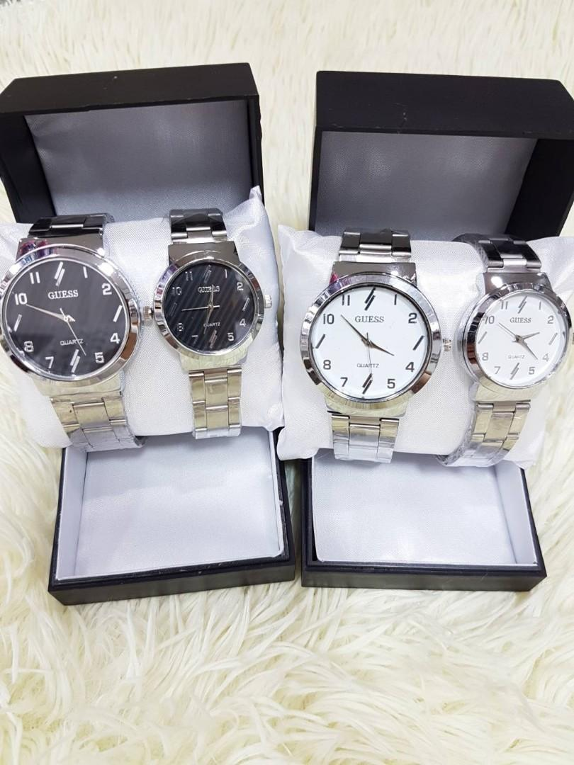 Jam Tangan Couple GUESS STRIP CP  Rantai putih couple diameter cowo 4cm cewe 3cm