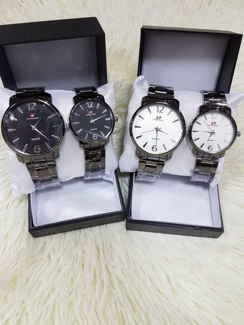 Jam Tangan Couple SWISS ARMY VINTAGE CP  Rantai hitam couple diameter cowo 4cm cewe 3cm