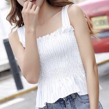 korean - white striped smocked top (babydoll)