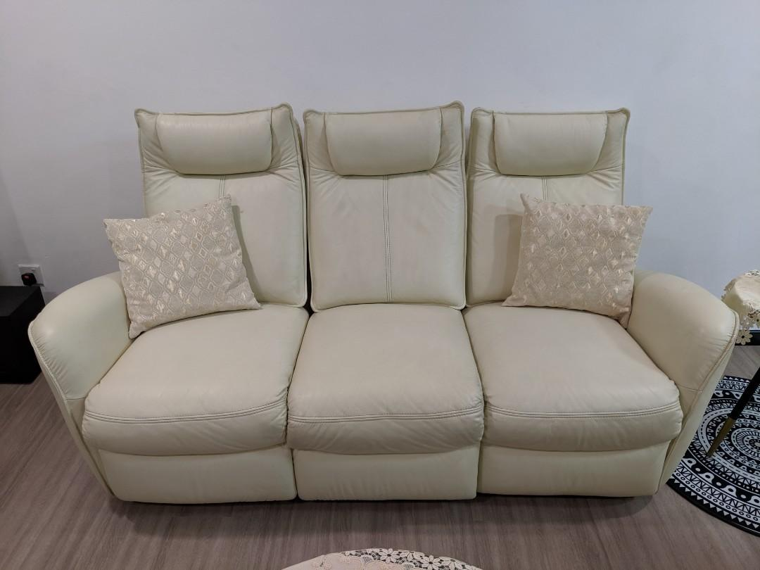 Price Revised For Leather Sofa On Beige Off White Color Furniture