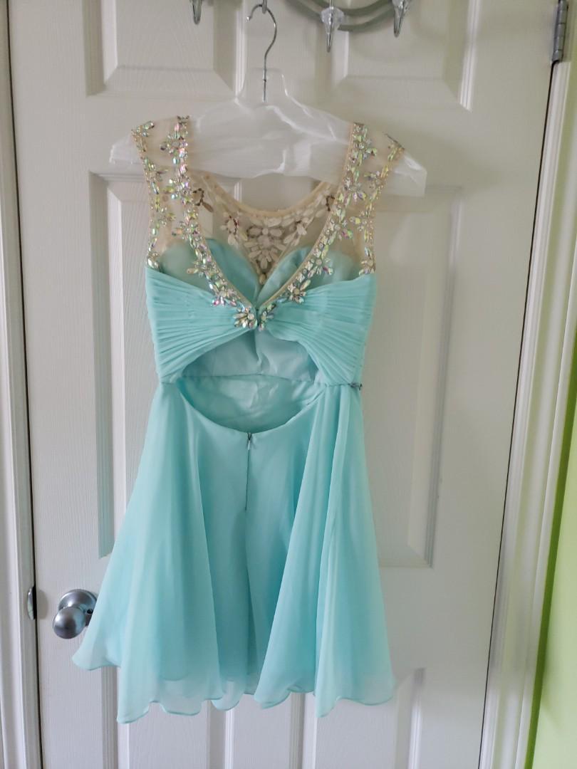 Light Blue Simple Flowy Sparkly Prom Graduation Short Dress