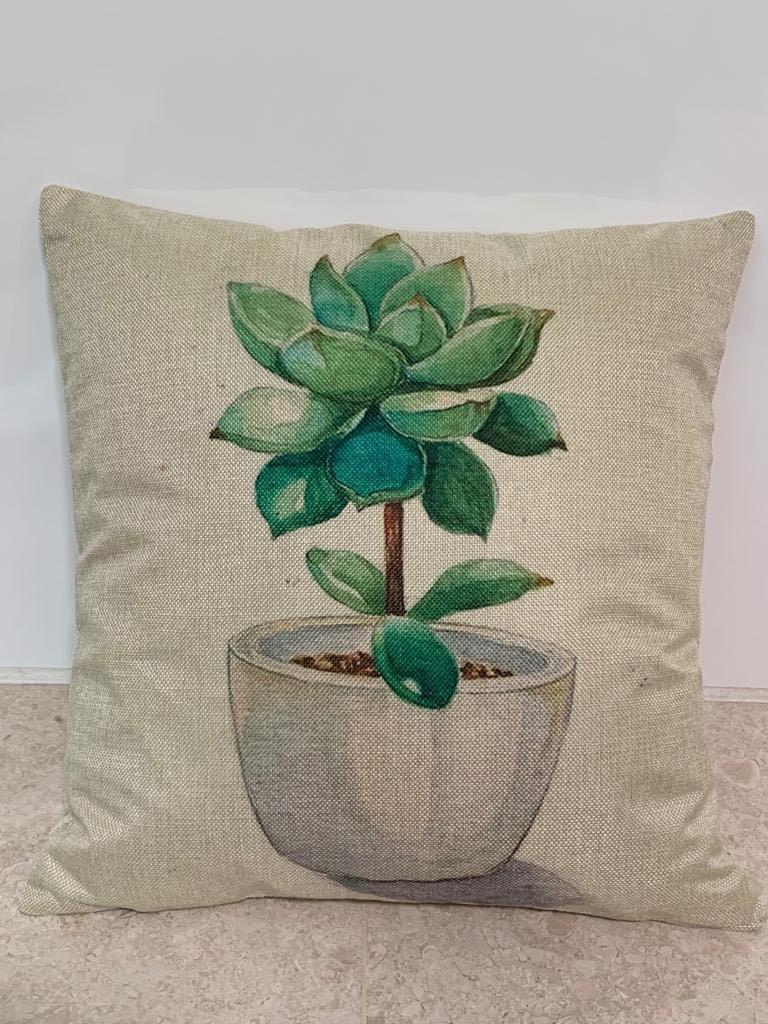 Linen Plants Sofa Cushion Cover (SDJ-007)