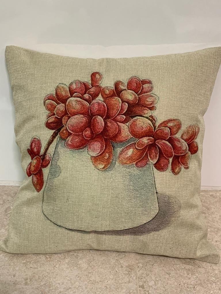 Linen Plants Sofa Cushion Cover (SDJ-006)