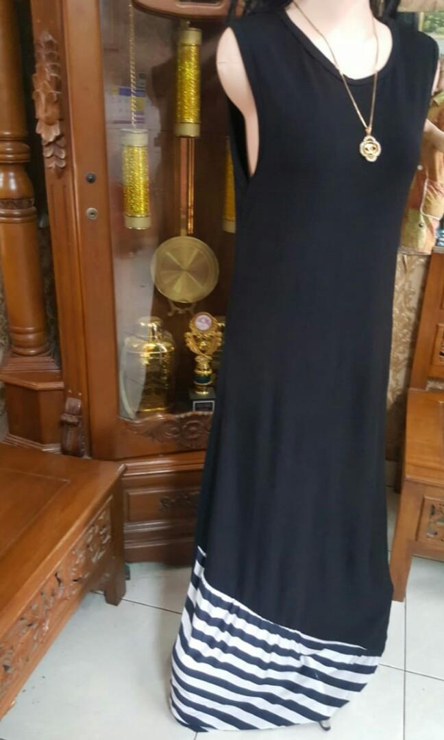 Long dress hitam stret M/L