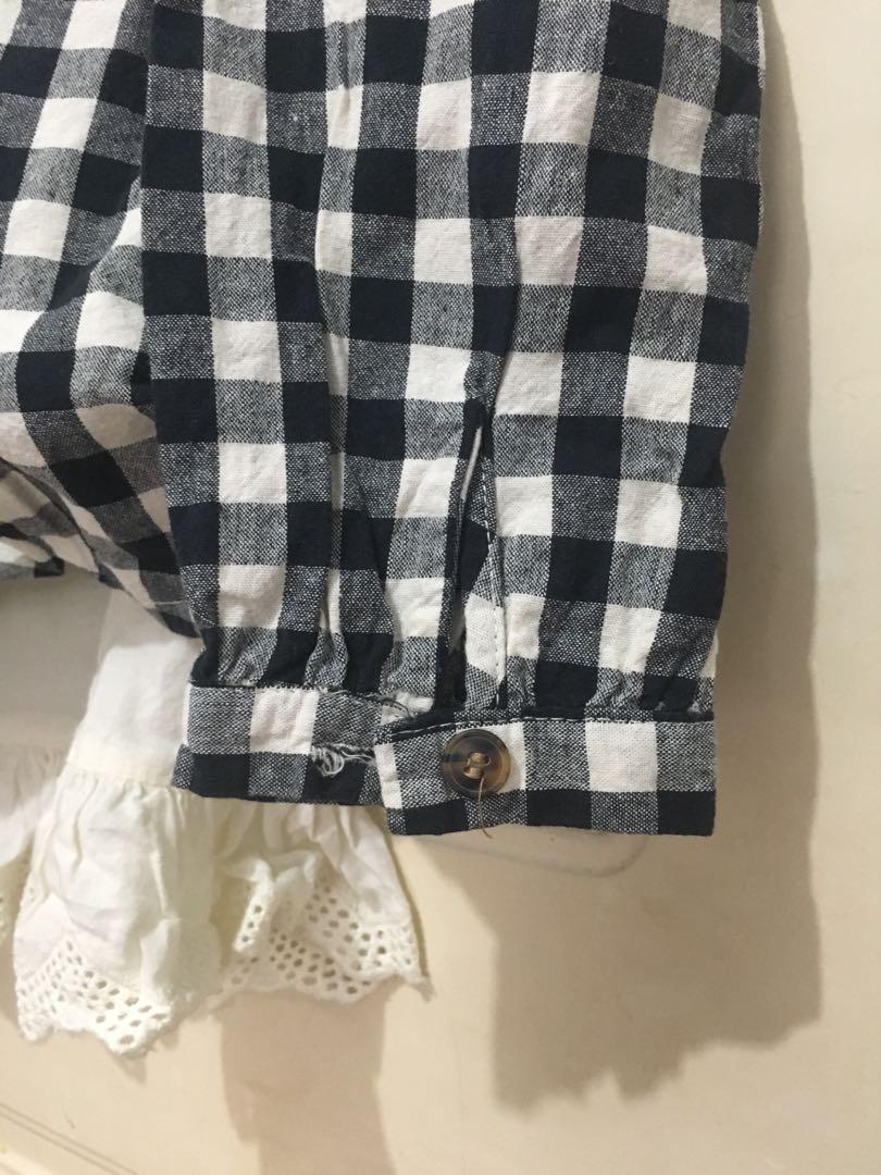 Long sleeve lace cotton check gingham top Japanese Korean mori