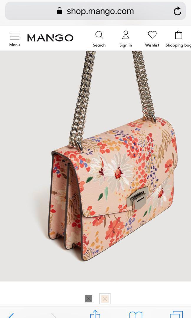 Mango limited edition floral embroidered crossbody bag