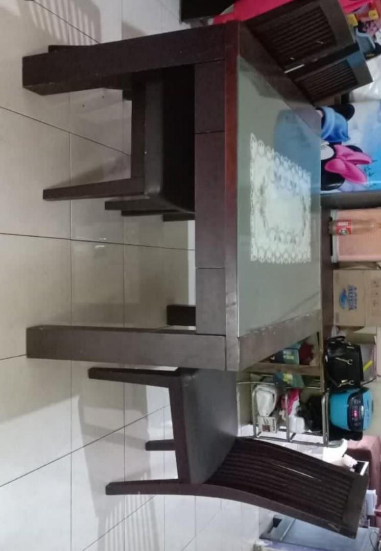 Meja makan kayu kursi 3