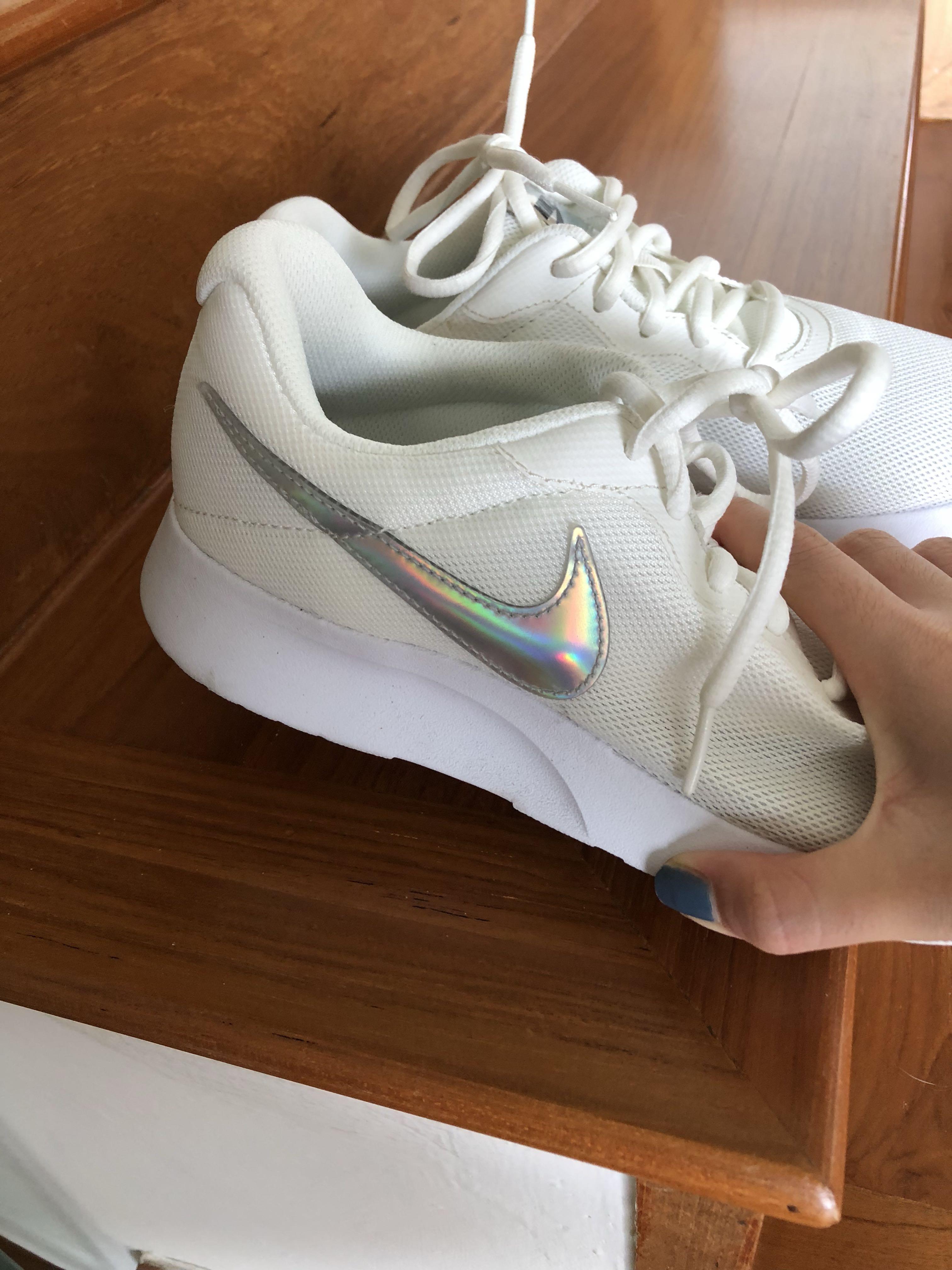 Nike Tanjun White Sneakers with Holographic Logo