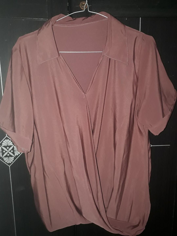 Pink wrap blouse