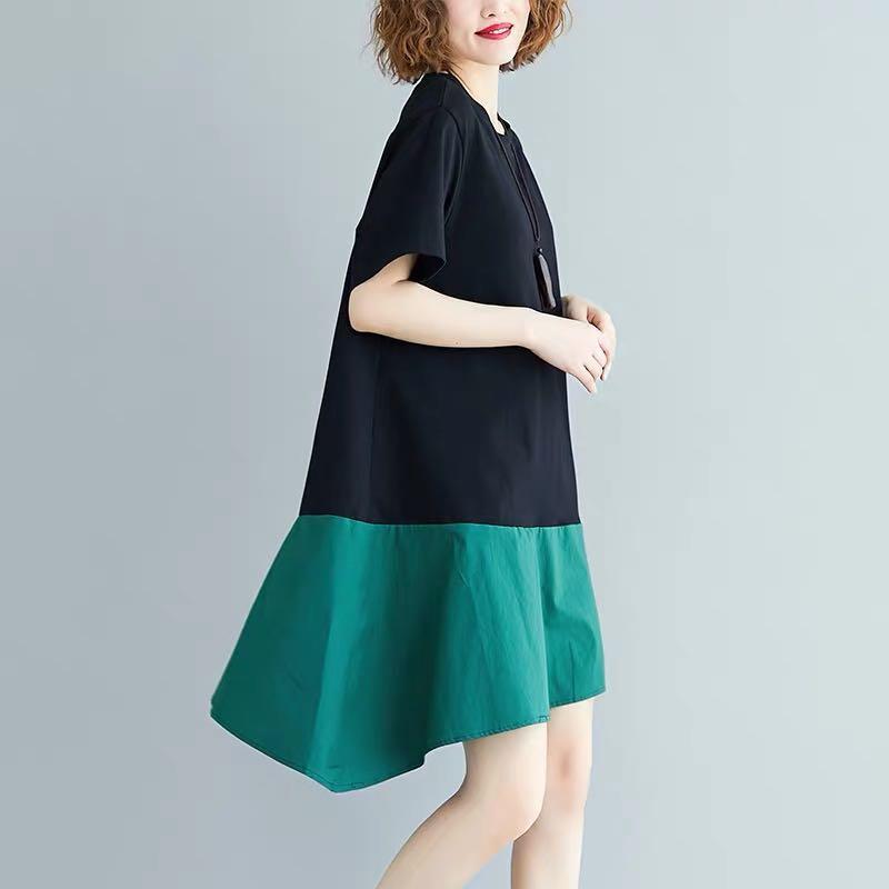 Plus Size dress color matching irregular skirt summer