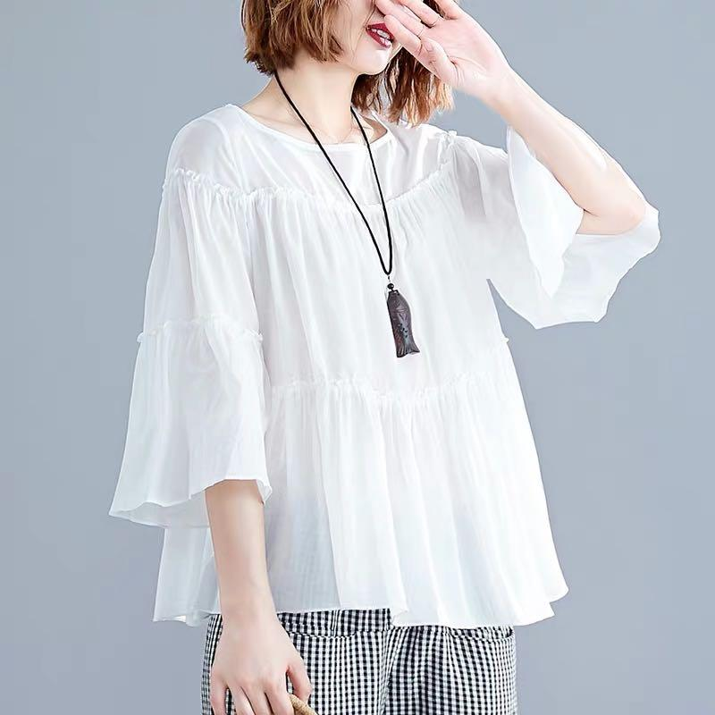 Plus Size Plus Size Trumpet Sleeve Round Collar Ruffled Panel A T-Shirt Solid Color Top